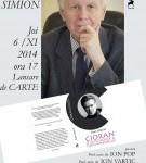 Lansare de carte – Cioran. O mitologie a nedesăvârșirilor  de Eugen Simion